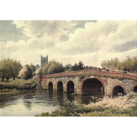 Image of American Shrines in England 1908 Pershore Abbey & Bridge Canvas Art - Alfred Quinton (18 x 24)