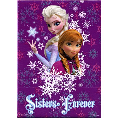 Frozen Magnet: Sisters Forever Anna and Elsa, Officially Licensed Products Assorted Artworks - Size - 3.5
