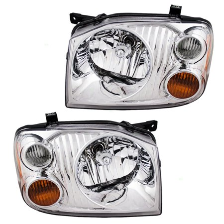 Driver and Passenger Headlights with Chrome Bezel Replacement for Nissan Pickup Truck 260608Z325 260108Z325, Meets all OE specifications, with DOT stamp By AUTOANDART