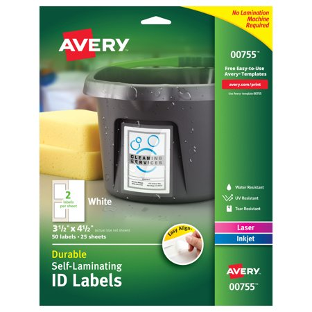 Avery 00755 Easy Align Self-Laminating ID Labels, Laser/Inkjet, 3 1/2 x 4 1/2, White (Pack of 50) White Id Label