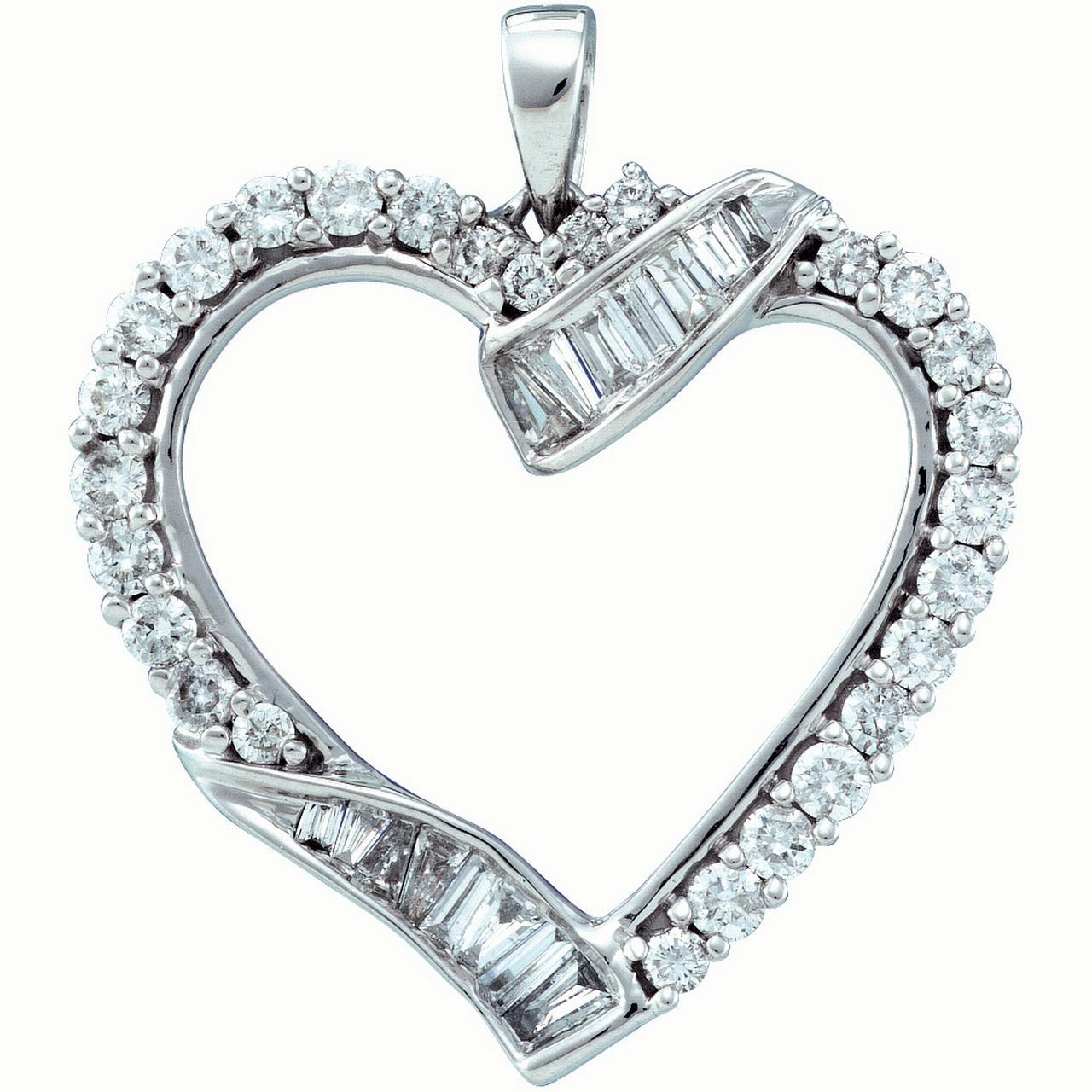 14K White-gold 1.0CTW DIAMOND HEART PENDANT
