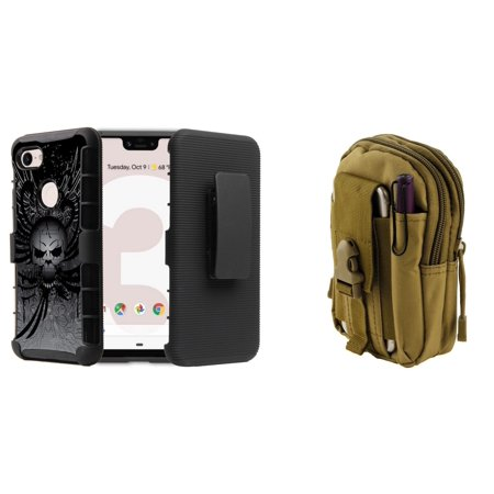 Bemz Accessory Bundle for Google Pixel 3 (5.5 inch display - Does NOT fit XL version) - BC Armor Combo Series Case (Skull Wings), Tactical MOLLE Pack (Khaki) and Atom (Khaki Combo)
