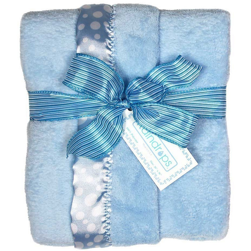 "Raindrops Baby Boys Flurr Receiving Blanket, Blue With White Dots, 28"" X 36"" by Raindrops"