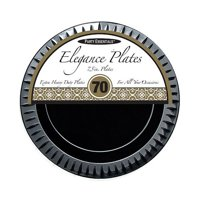 "1 - Party Essentials 7.5"" Elegance Salad Plates - Black 70 Ct."