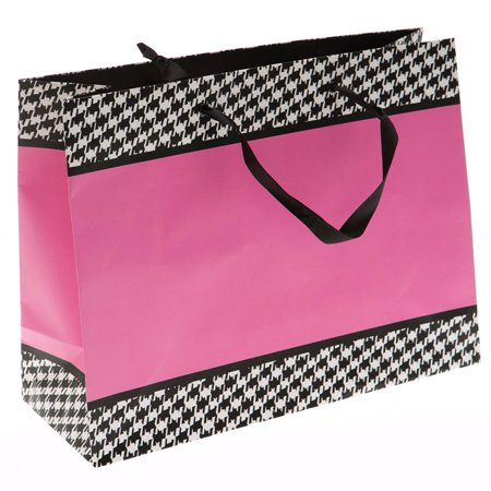 Large Pink and Houndstooth Gift Bag ()