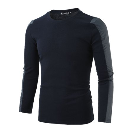 Men Round Neck Long Sleeve Ribbed Design Slim Top Shirt Navy Blue S - image 1 of 6