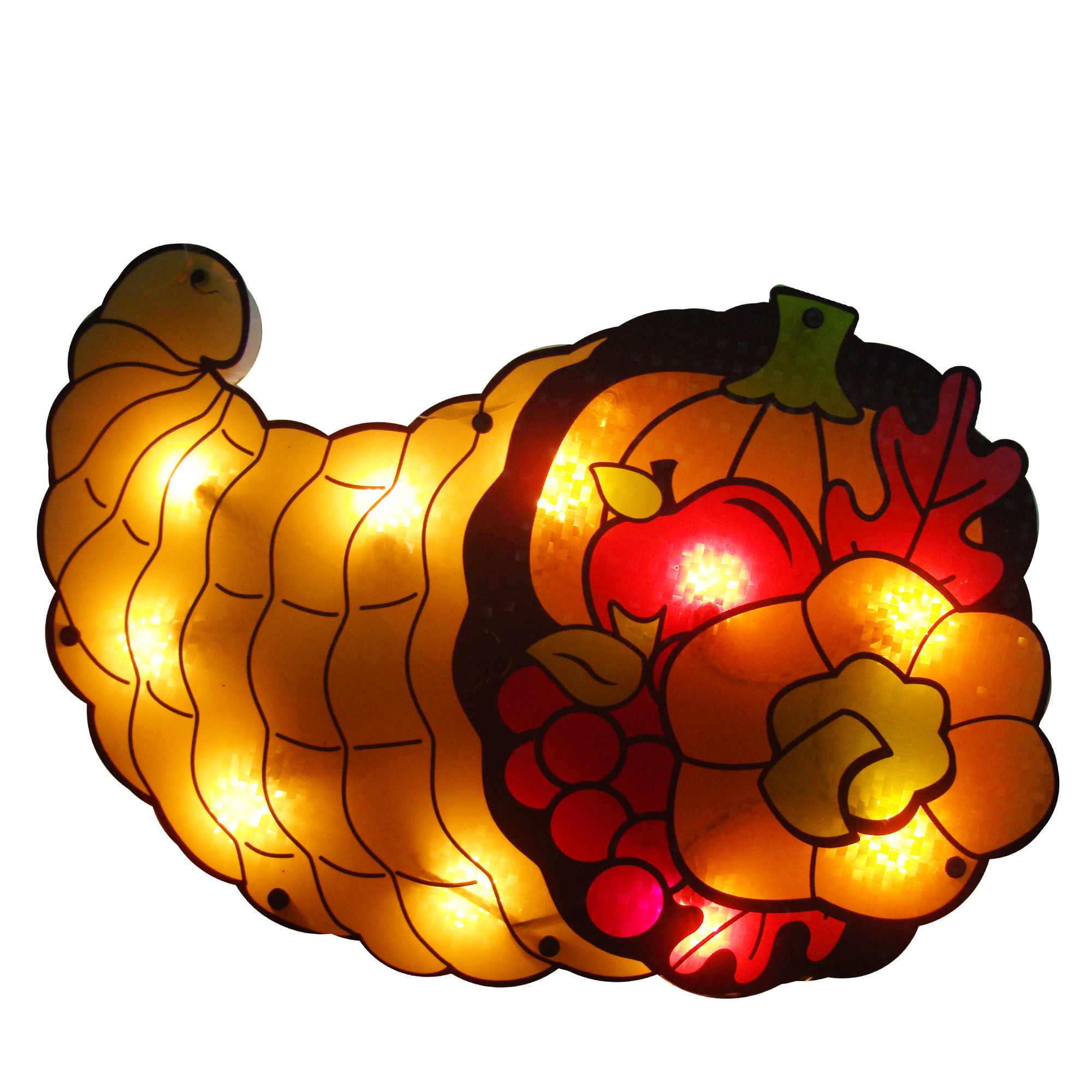 """20"""" Lighted Cornucopia Thanksgiving Window Silhouette Decoration (Pack of 4)"""
