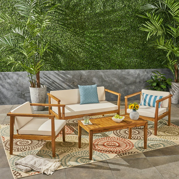 Newbury Outdoor 4 Piece Acacia Wood Chat Set with Cushions, Teak, Beige