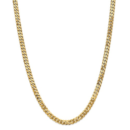 14k Yellow Gold 22in 6.1mm Solid Polished Flat Beveled Curb Necklace Chain by Jewelrypot