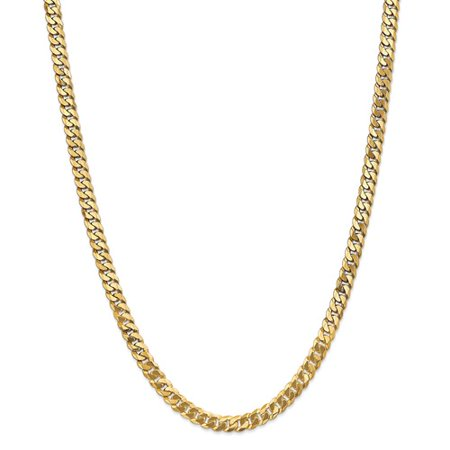 14K Yellow Gold 22In 6 1Mm Solid Polished Flat Beveled Curb Necklace Chain