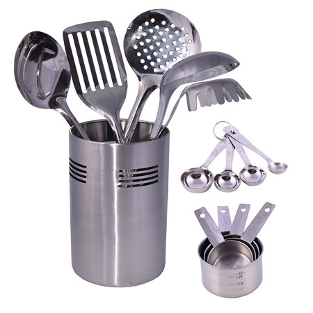 Cuissentials 14 Piece Stainless Steel Kitchen Tools with 5 Cooking Utensils Tools, 4 Measuring spoon & 4 Measuring Cup Set with Caddy (Bakeware Caddy)