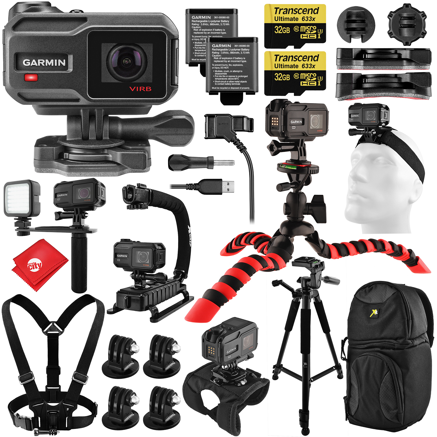 "Garmin Virb X Skate Kit w  X-Grip; LED Hand Grip Rig; Head, Wrist, Chest Mounts; 60"" 3-Way Pan Head, 12"" Flex... by Garmin"