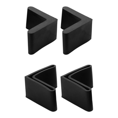 Unique Bargains 4 Pcs Antislip Rubber L Shape 30mm x 30mm Chair Foot Cover Table Furniture Leg Protector Balck (Chair Foot Covers)