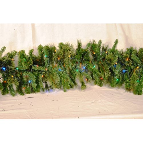 Christmas at Winterland WL-GARBM-09-L5M 9 Foot Pre-Lit Multicolor LED Blended Pi