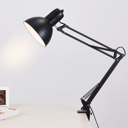 Metal Swing Arm Desk Light with Lamp, Classic Architect Clip On Table Lamp, Multi-Joint, Adjustable Swing Arm, Black Finish ()