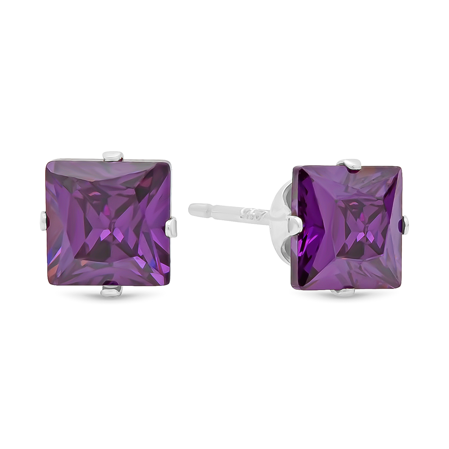Square Cut Simulated Purple Amethyst CZ Sterling Silver Nickel-Free Stud Earrings + Bonus Polishing Cloth