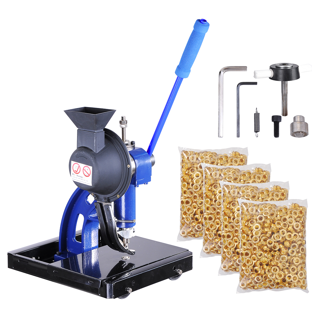 Yescom Semi-automatic #2/#4 Die Hand Press Grommet Machine w/ 4000/10000 Grommets & Rolling Base Tool Kit