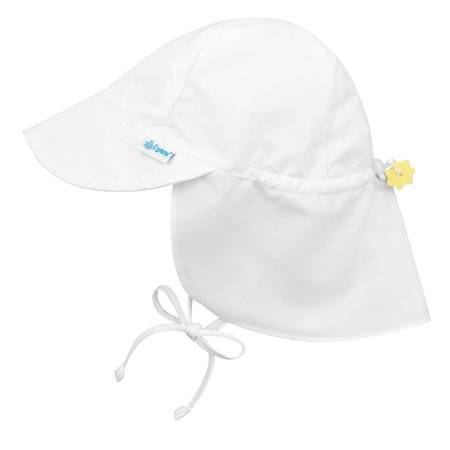 Iplay Flap Sun Hat for Baby Boy Baby Girl Unisex Gender Neutral Sun Protection Large Billed Baby Hat Solid White Infant 9-18 Mths Adjustable Outdoor Hat With Chin Strap and Neck Flap Baseball Hat Swim