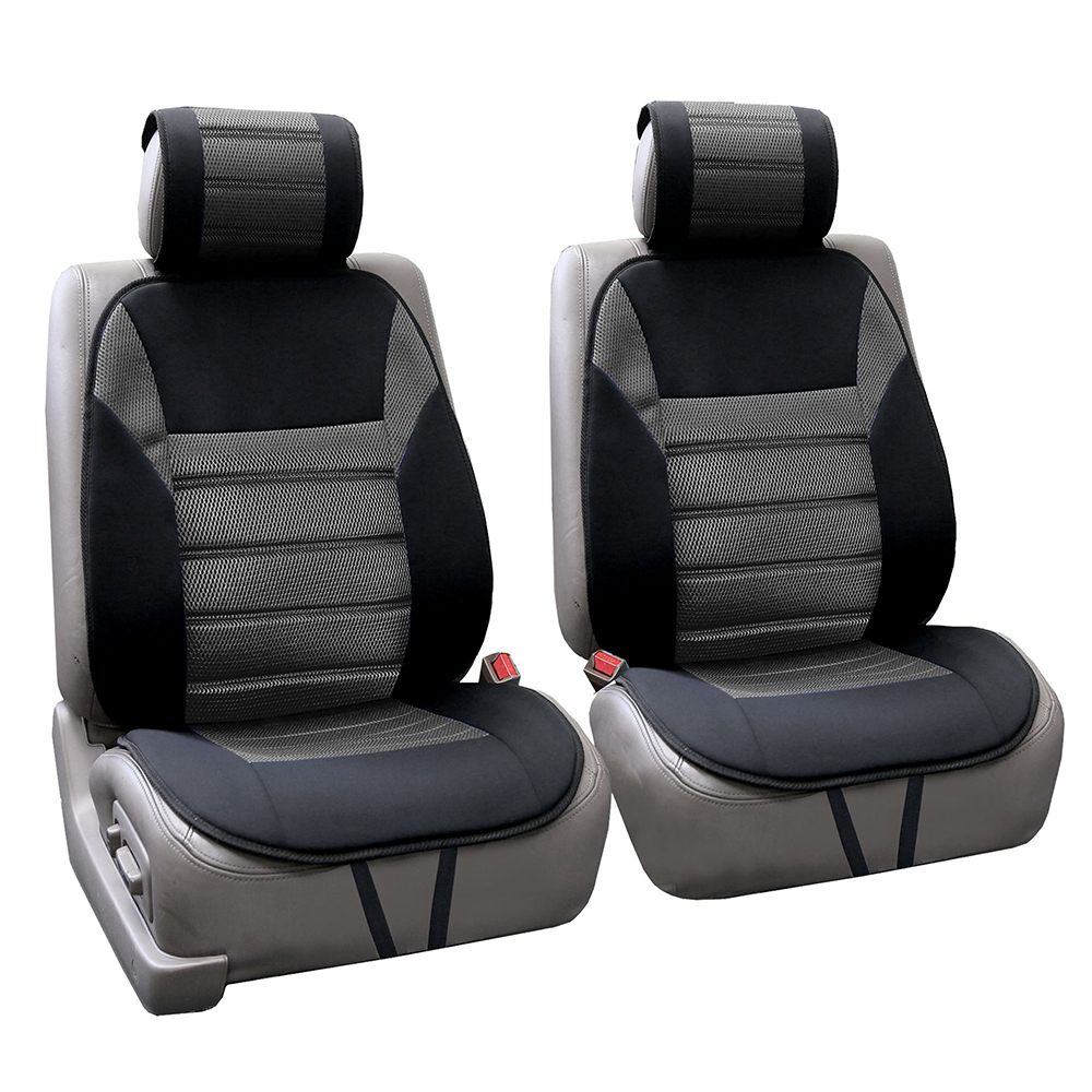 FH Group Ultra Fine Polyester Front Seat Cushions, Pair, Gray and Black