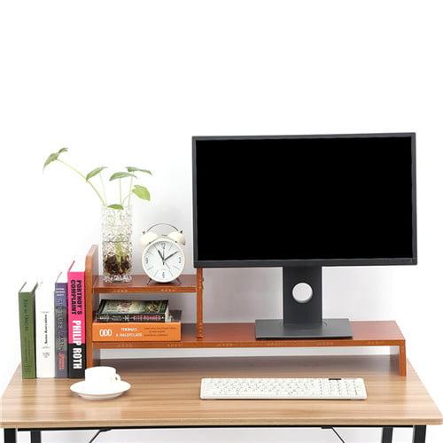 Computer Laptop Monitor Riser Stand Desktop Wooden Storage Organizer Shelf (Red Walnut)