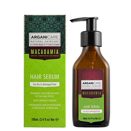 Arganicare Macadamia Hair Serum for Dry and Damaged Hair with Organic Oils of Argan and Macadamia. 3.4 fl.