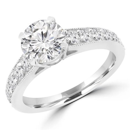Majesty Diamonds MD180495-3.5 1.16 CTW Round Diamond Solitaire with Accents Engagement Ring in 14K White Gold - Size 3.5 - image 1 of 1