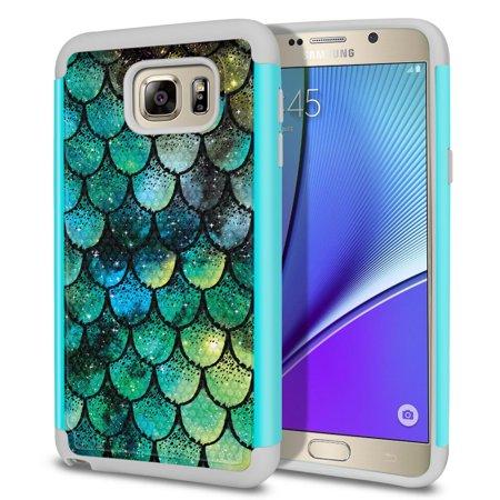 FINCIBO Samsung Galaxy Note 5 Football Grain Hybrid Case Hard TPU Back Cover, Green Mermaid - Mermaid Vans