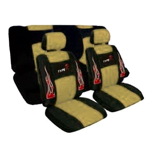 Unique Imports Low R Flame Style Front Seat Covers,Head Rest Cover,Bench ,Steering