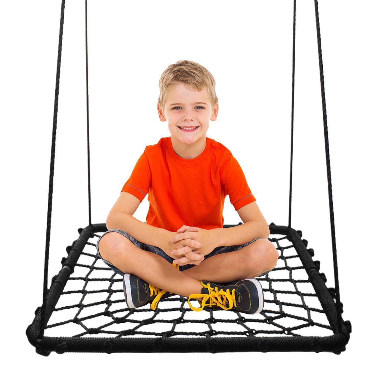Rectangular Platform Swing & Spin Set Extra Large Includes Tree Swing Hanging Kit Black