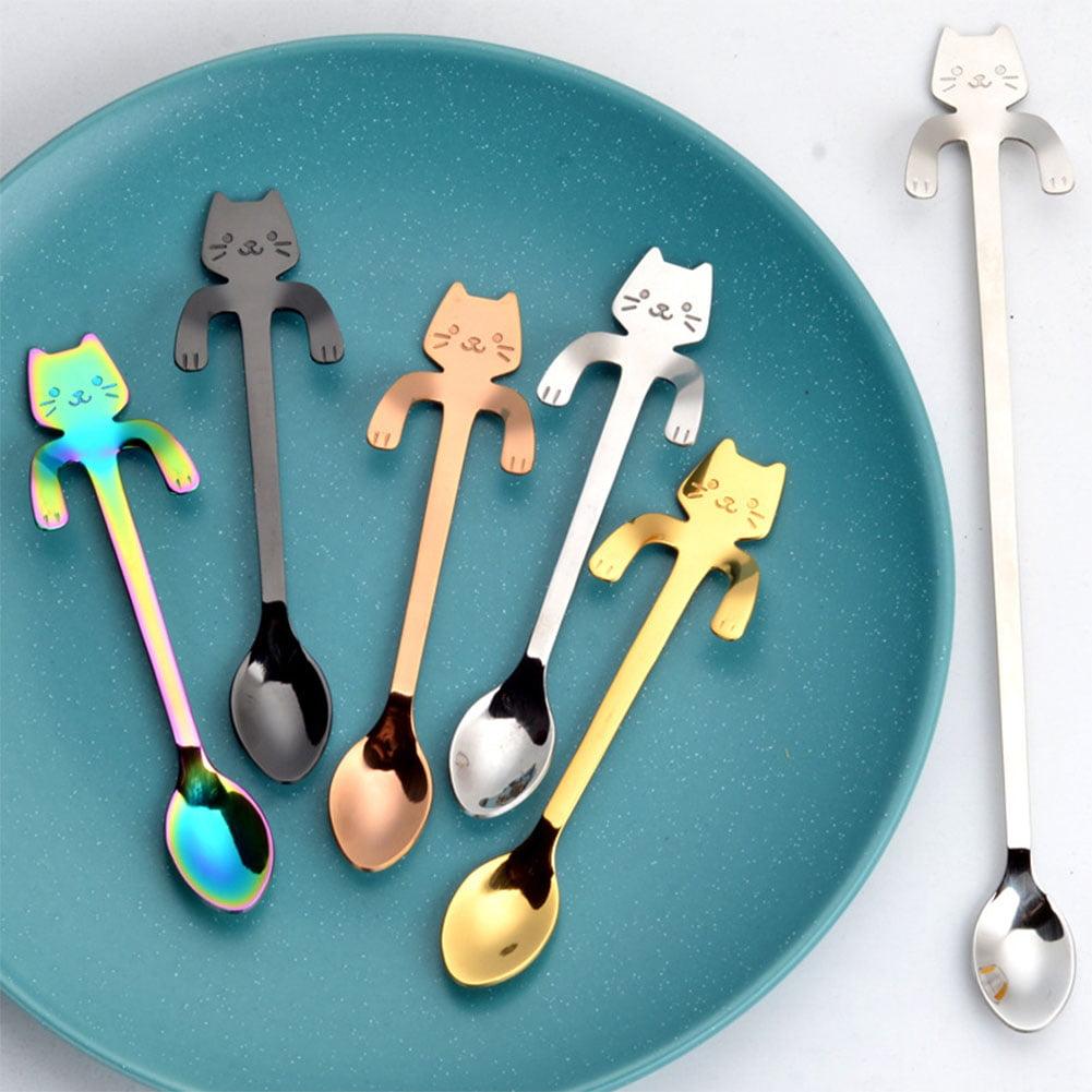 Cat Lover Spoon 6 Pieces Cute Stainless Steel Cat Head Coffee Spoon Lovely Spoon Black, White Ice Cream Dessert Spoon for Stirring Tea Coffee Sugar Dessert