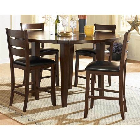 5 Pc Round Counter Height Dining Table Set W Padded Chairs
