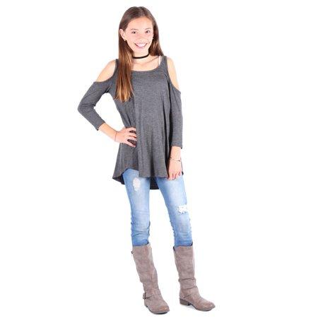 Lori   Jane Girls Grey Cold Shoulder Top