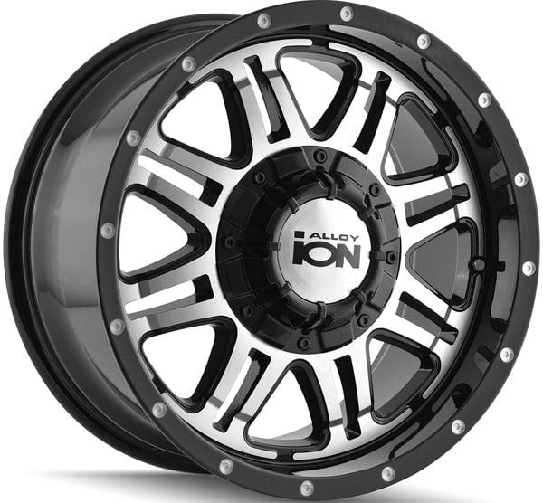 """iona 186 15x8 5x4.5""""/5x4.75"""" +25mm Black/Machined Wheel Rim"""