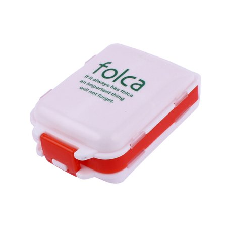 Home Travel Plastic 3 Layers Medicine Pill Mini Storage Box Case White Red - image 1 of 1