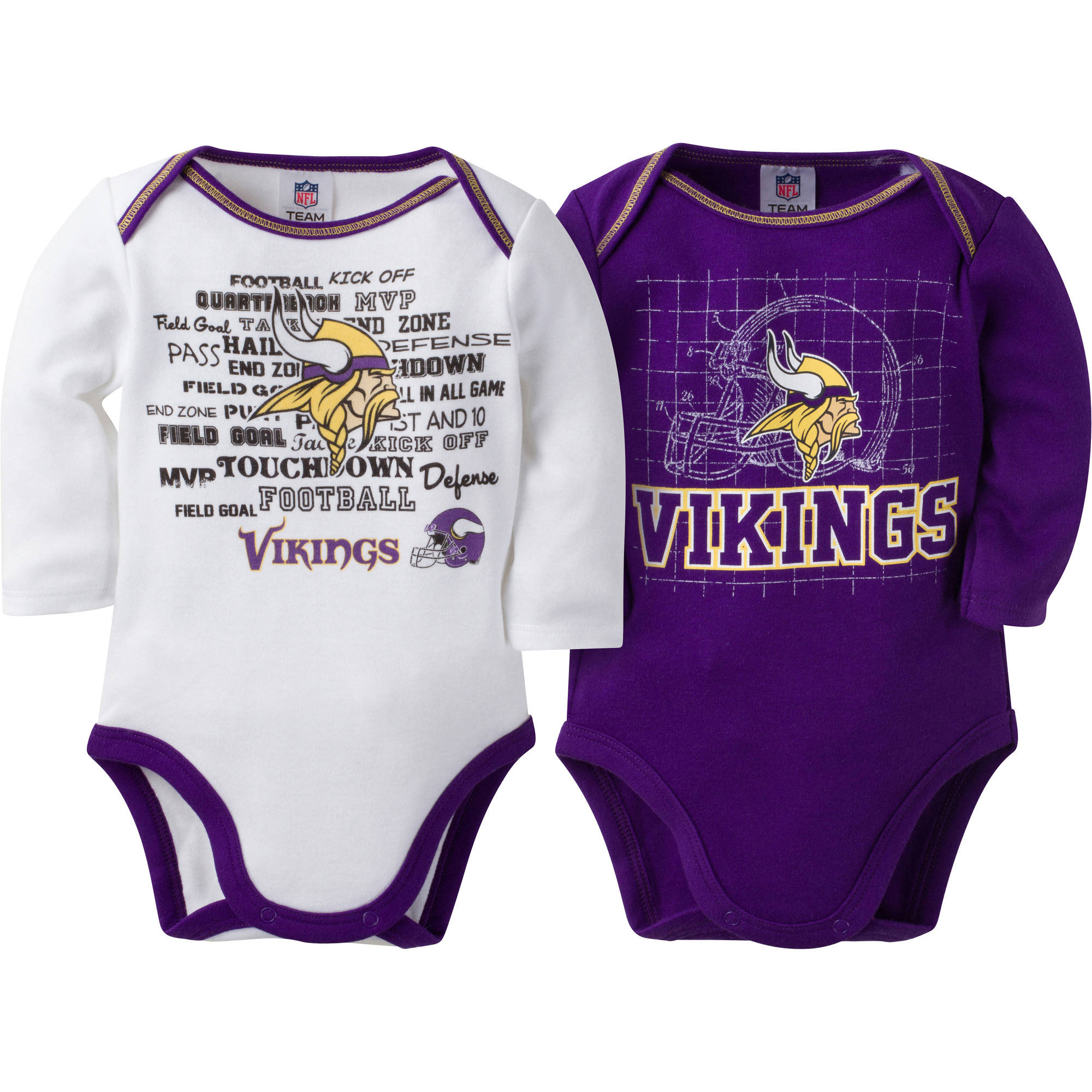 NFL Minnesota Vikings Baby Boys Long Sleeve Bodysuit Set, 2-Pack