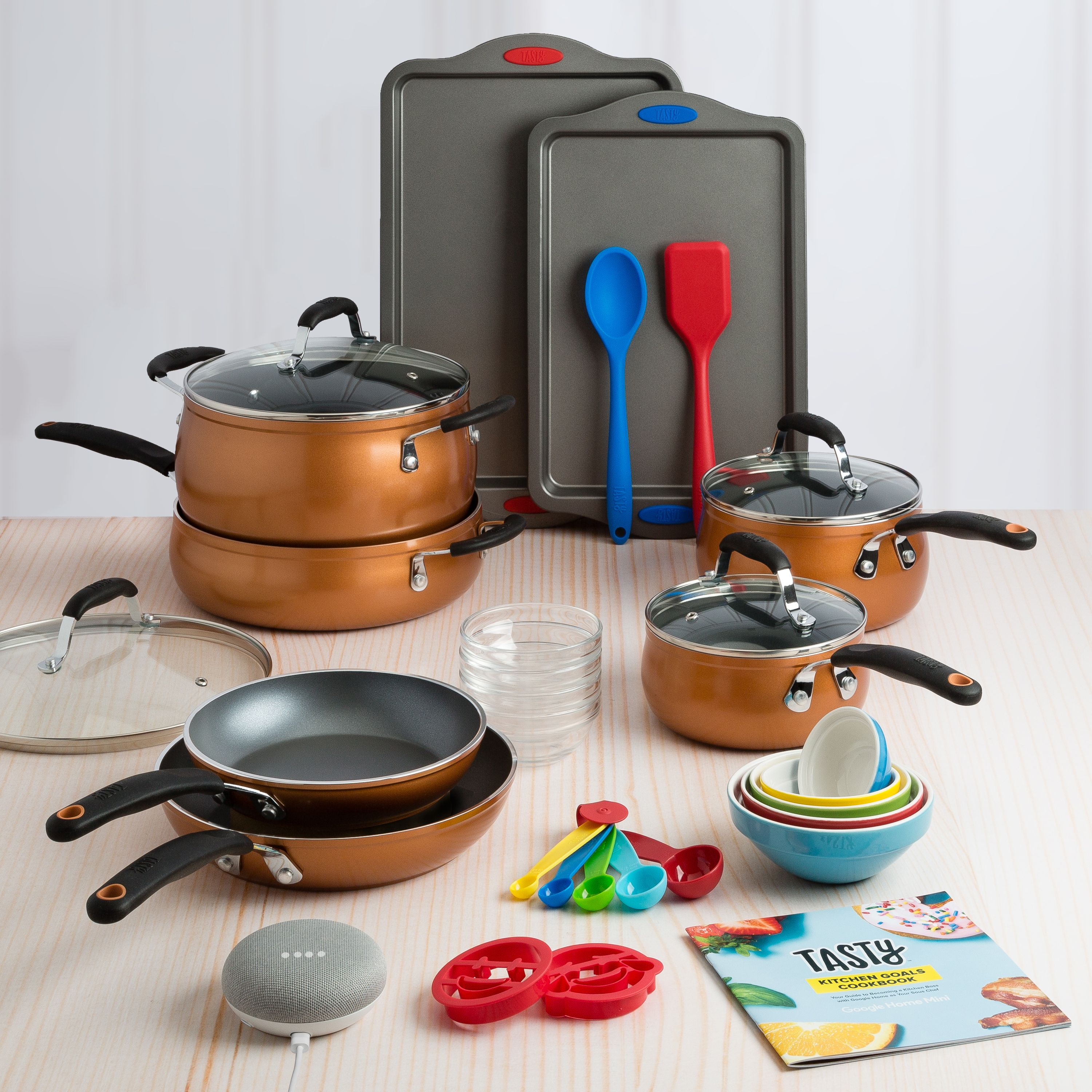 Tasty 30 Piece Non-Stick Cookware Set + Google Home Mini - Copper