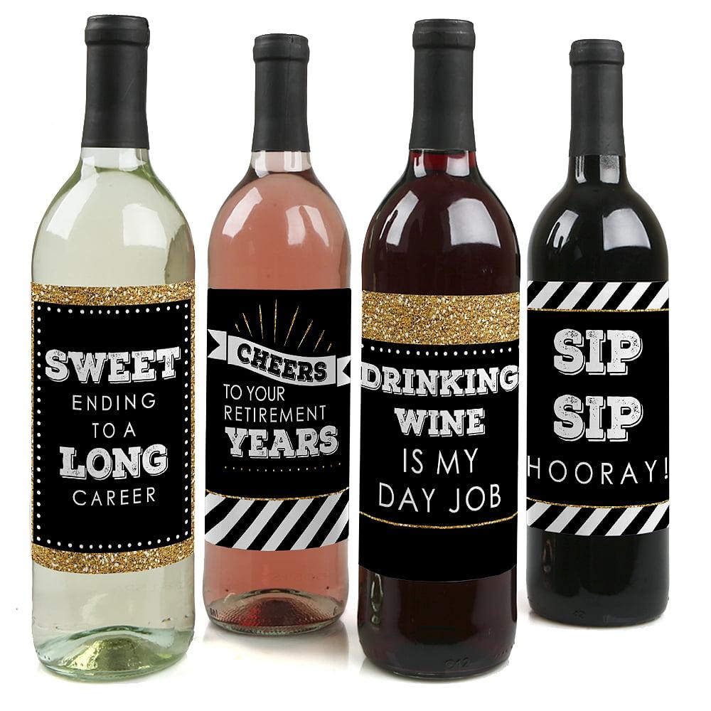 Happy Retirement - Retirement Party Wine Bottle Label Stickers - Set of 4