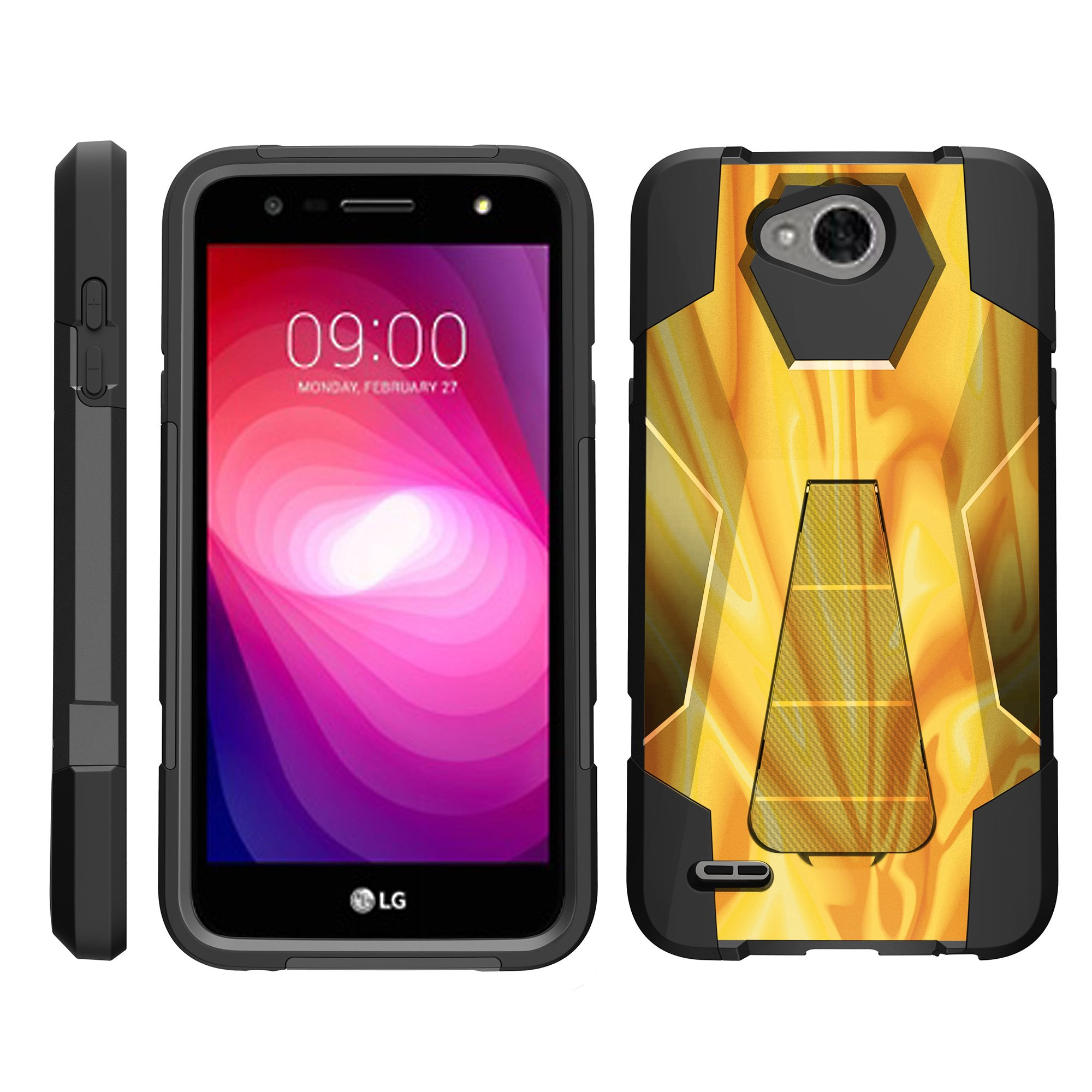 TurtleArmor ® | For LG X Power 2 | K10 Power | LV7 | Fiesta | X Charge [Dynamic Shell] Dual Layer Hybrid Silicone Hard Shell Kickstand Case - Maroon Plaid