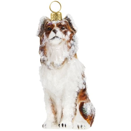 Snowy Australian Shepherd Sitting Polish Glass Christmas ...