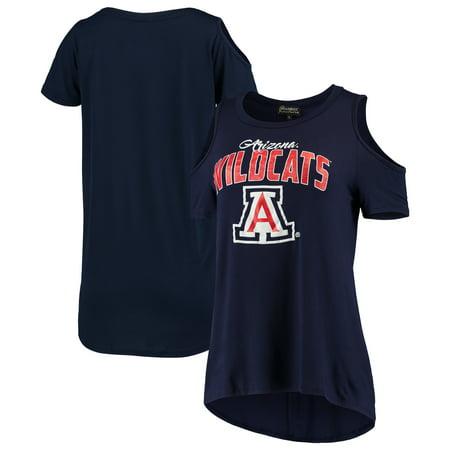 Arizona Wildcats Women's Gameday Cold Shoulder Flowy Top - Navy