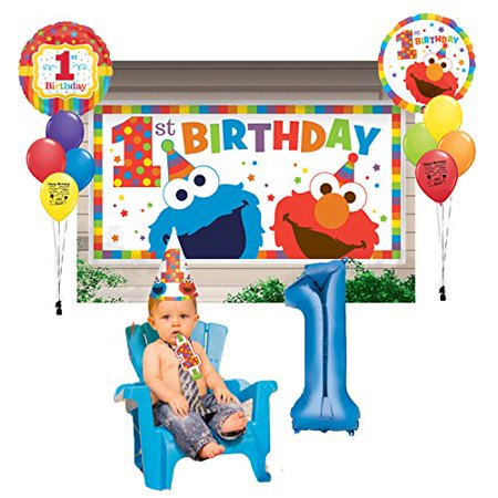 Elmo Party Supplies 1st Birthday Scene Setter Photo Balloon Decoration Kit