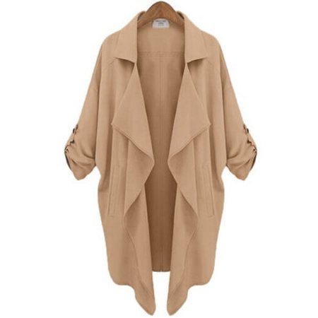 Plus Size Women Trench Coat Loose Batwing Blazer Cardigan Long Sleeve Overcoat Suit Lapel Jacket Tops Outwear