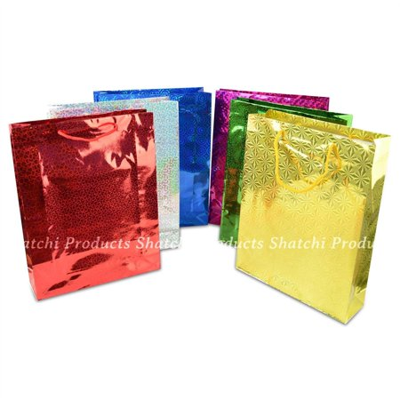 2 Assorted Large Holographic Gift Bags for Wine Bottle Christmas Present - Present Bag