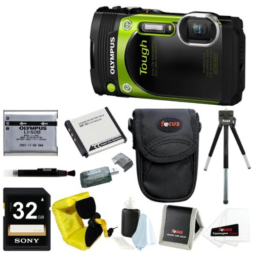Olympus TG-870 Waterproof Digital Camera (Green) w/ 32GB SD Card & Battery Pack Bundle