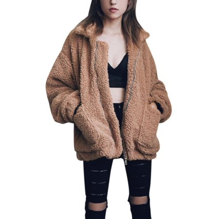 JLONG 1Pcs Womens Winter Warm Slim Plush Loose Coat Outwear Jacket Sweater Parka