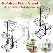 4 Tier Stainless Steel Plant Stand Flower Planter Garden Display Holder Shelf Rack for Home Room Ornaments Indoor Outdoor Patio