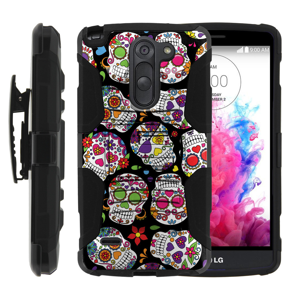 LG G3 Stylus Case | LG D690 Case | G3 Stylus Holster Case [ Clip Armor ] Rugged Case with Kickstand + Holster - Sugar Skull Design