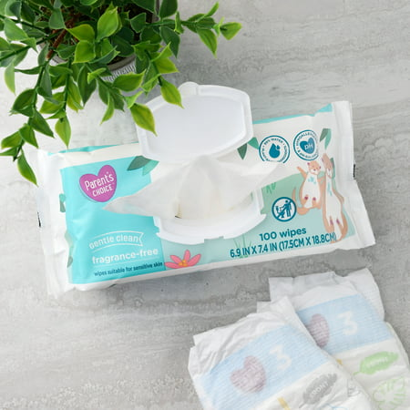 Parent's Choice Fragrance Free Baby Wipes, 12 Flip-Top Packs (1200 Total Count)