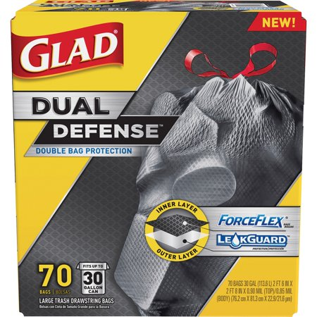 30 Gallon Spill Kit - Glad ForceFlexPlus Drawstring Trash Bags, 30 Gallon, 70 Ct