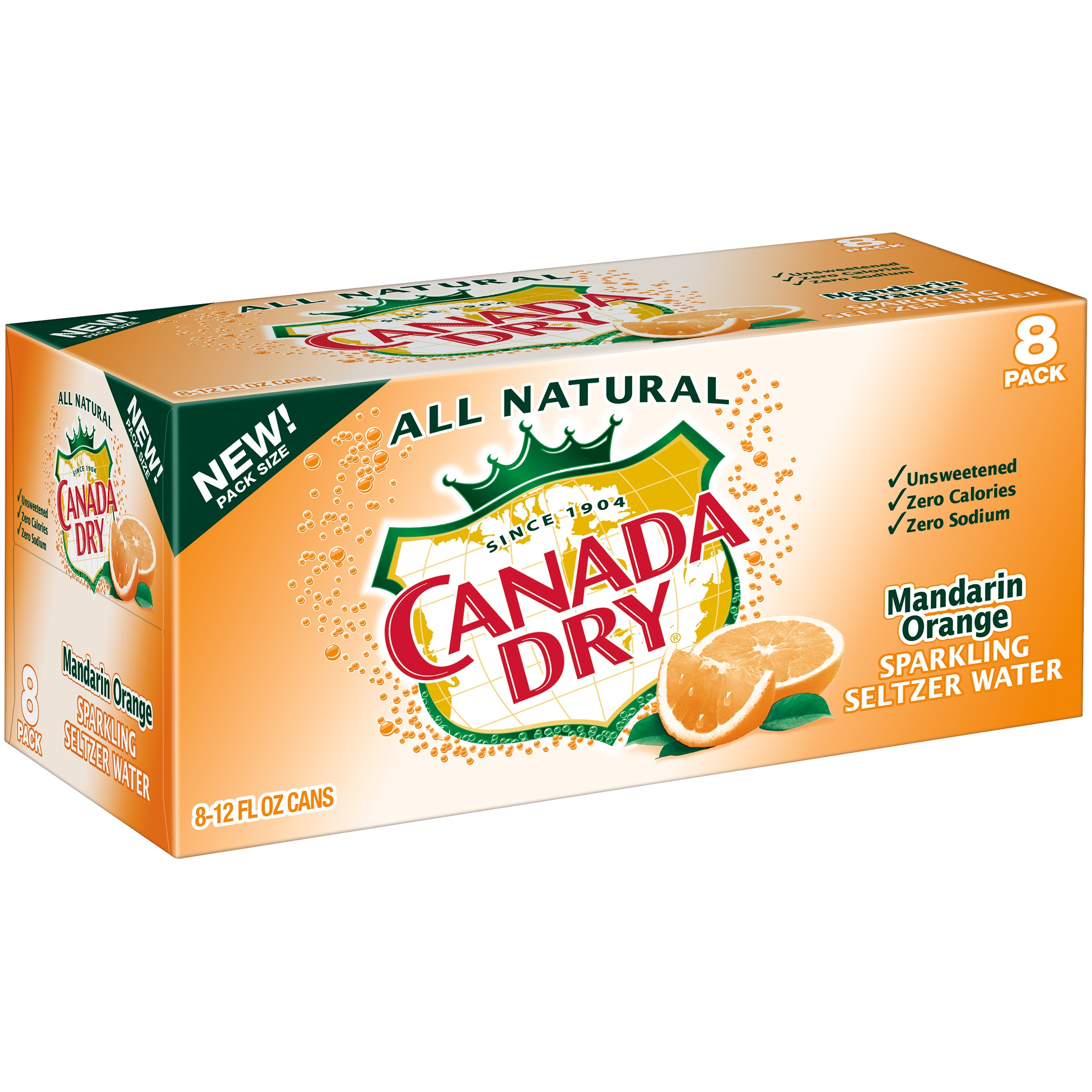 Canada Dry All Natural Sparkling Mandarin Orange Seltzer Water, 12 Fl. Oz., 8 Count